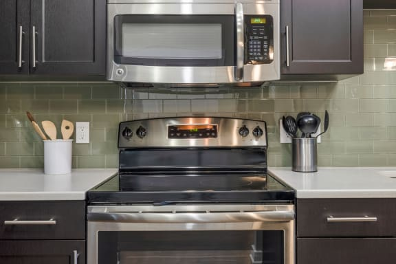 stainless steel appliances at Liberty Mill Apartments in Germantown Maryland