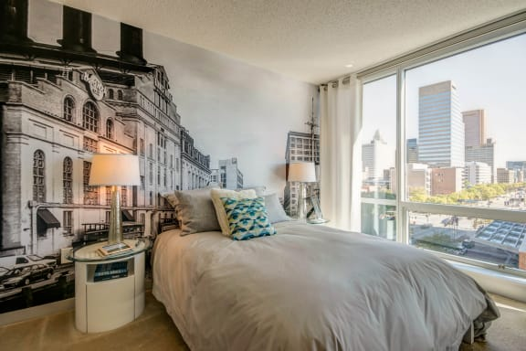 Comfortable Bedroom With Large Window at The Zenith, Maryland, 21201