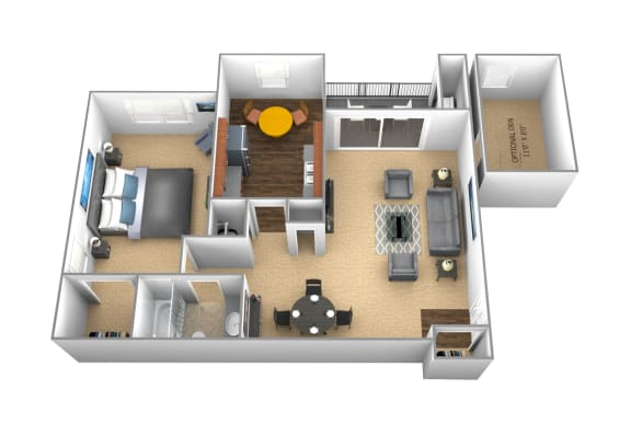 1 bedroom 1 bathroom floor plan at Cromwell Valley Apartments in Towson MD