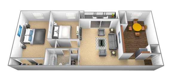 2 bedroom, 1 bathroom 3D floor plan at Windsor House Apartments in Middle River, MD