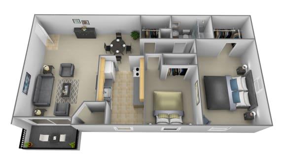 2 bedroom 1 bathroom Potomac floor plan at Security Park Apartments in Windsor Mill, MD
