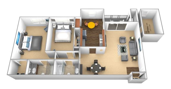 2 bedroom 2 bathroom floor plan at Cromwell Valley Apartments in Towson MD