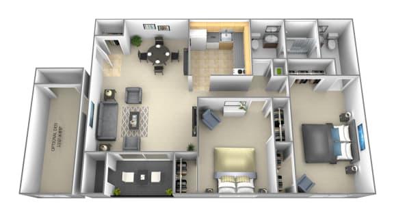 2 bedroom 1 bathroom with optional den b floor plan at Woodsdale Apartments in Abingdon, MD