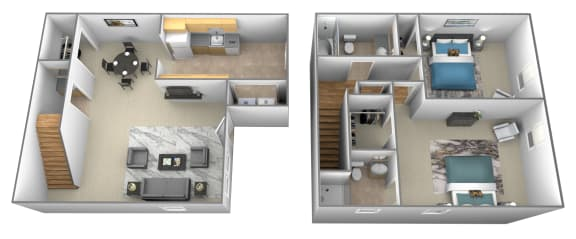 Floor Plan  2 bedroom 2 bathroom 3D floorplan at Spring Hill Apartments and Townhomes