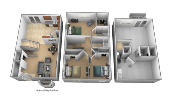 3 bedroom 2.5 bathroom floor plan at Carlson Woods Townhomes in Randallstown MD