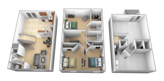 3 bedroom 2 bathroom floor plan at Carlson Woods Townhomes in Randallstown MD