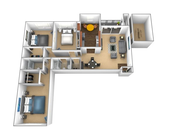 3 Bedroom 2 bathroom apartment at Cromwell Valley in Towson, Maryland