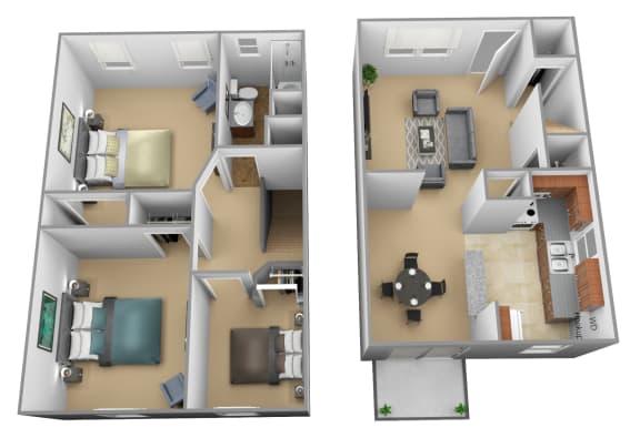 Yorktowne Townhomes 3 Bedroom 3D Floorplan