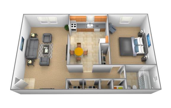 1 bedroom 1 bathroom apartment Ashley at Arbuta Arms Apartments