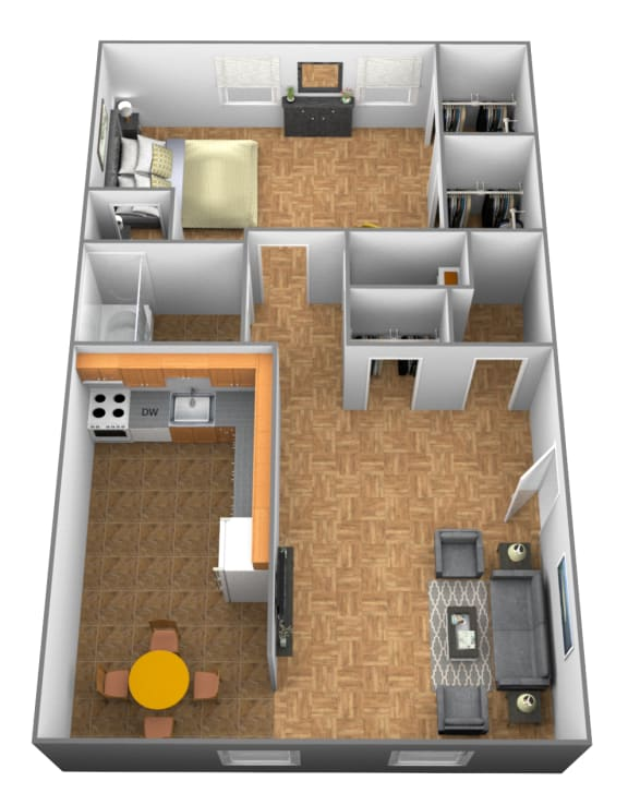 1 bedroom 1 bathroom 3D floor plan at Winston Apartments in Baltimore Belvedere MD