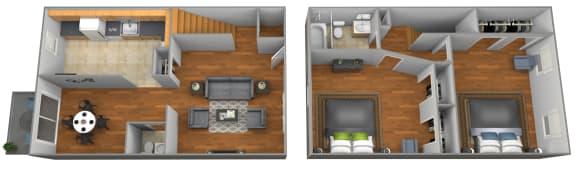 Floor Plan  2 bedroom 1.5 bathroom floor plan at Colony Hill Townhomes
