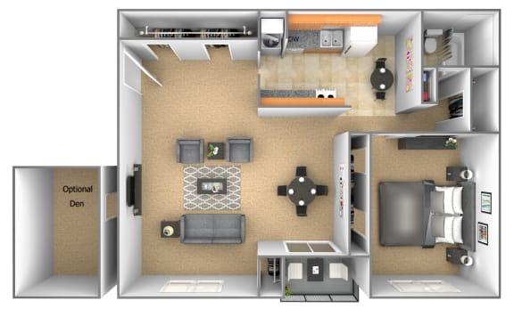 1 bedroom 1 bathroom floor plan with den at Deer Park Apartments in Randallstown, MD