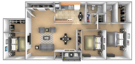 3 bedroom 2 bathroom floor plan with den at Deer Park Apartments in Randallstown, MD