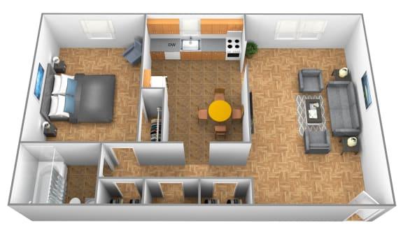 1 bedroom 1 bathroom Hillendale 3D floor plan at Winston Apartments in Baltimore MD