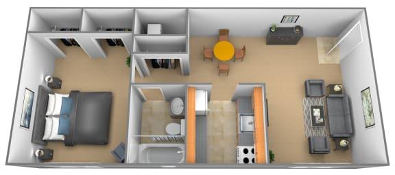 Floor Plan  Traditional Studio 1 bedroom 1 bathroom floor plan at Hyde Park Apartments in Essex, MD