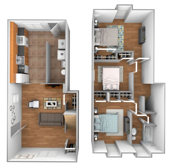 3 bedroom 1 bathroom end unit floor plan at Kingston Townhomes in Essex, MD