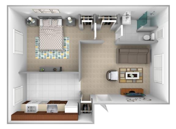 Floor Plan  1 bedroom 1 bathroom apartment floor plan at Loch Bend