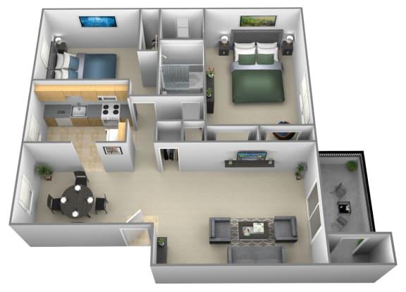 Floor Plan  2 bedroom 1.5 bathroom style a floor plan at Liberty Gardens Apartments in Windsor Mill MD