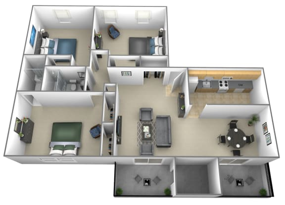 Floor Plan  3 bedroom 2 bathroom floor plan at Liberty Gardens Townhomes