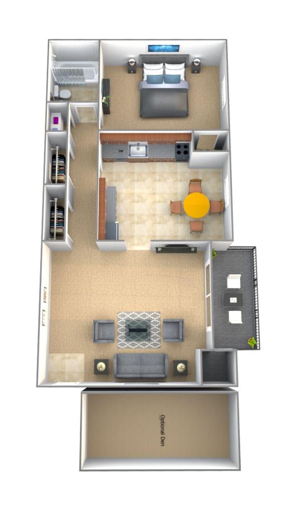 1 bedroom 1 bathroom Ashley floor plan at Lawyers Hill Apartments in Elkridge MD