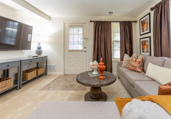 Spacious and bright living room at Spring Hill Townhomes