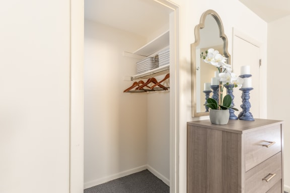 Each large room has matching large closet space in each apartment at Lawyers Hill
