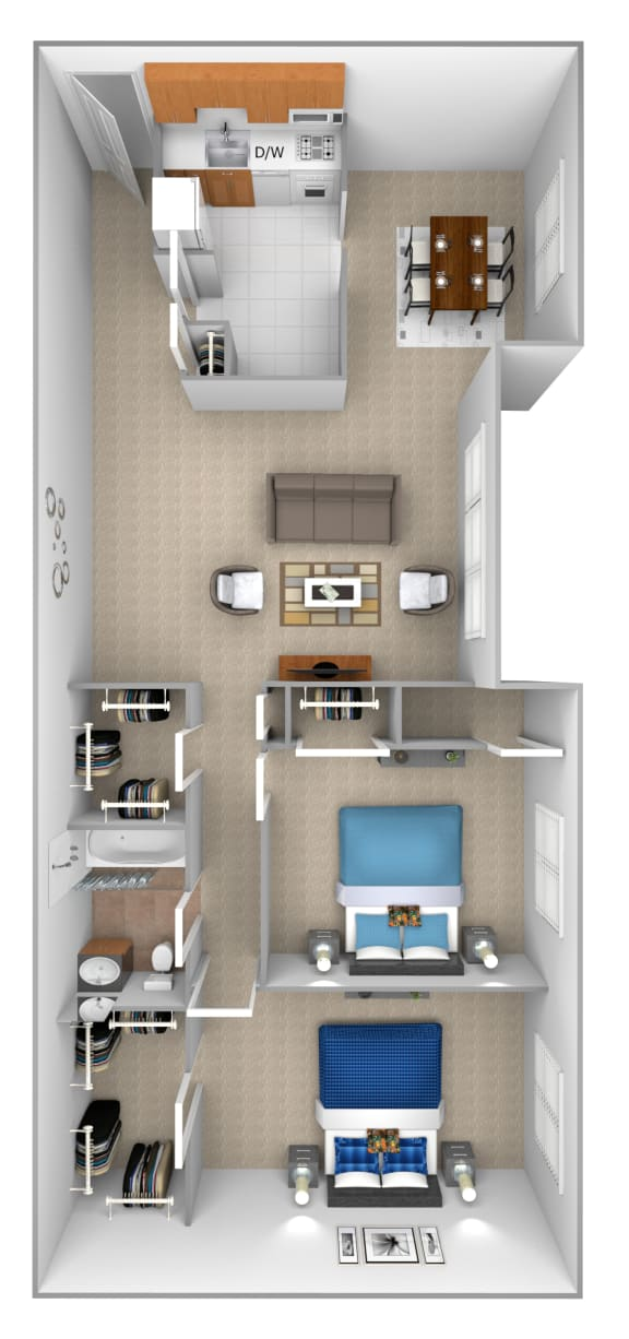Floor Plan  2 bedroom 1 bathroom with den 3D floor plan at McDonogh Village Apartments in Randallstown MD
