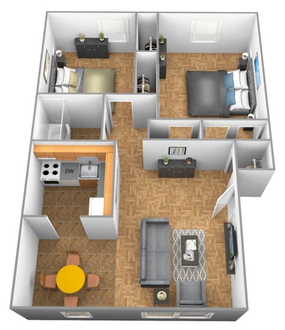 2 bedroom 1 bathroom 3D floor plan at Winston Apartments
