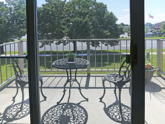 Energy efficient sliding doors to access your patio at Windsor House