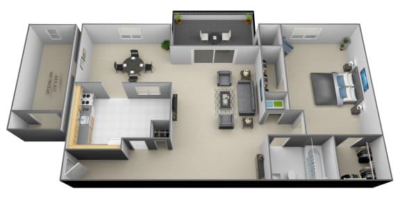 1 bedroom 1 bathroom with den 3D floorplan at Painters Mill Apartments