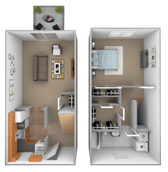 1 bedroom 1 bathroom Ashland floor plan at Seven Oaks Townhomes in