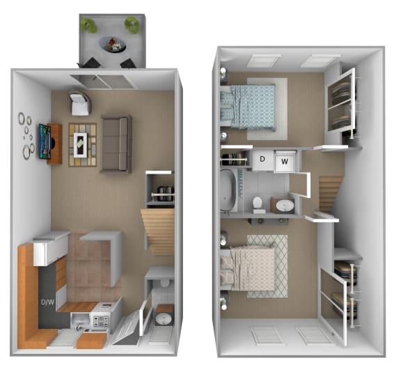 2 bedroom 1.5  bathroom Colony floor plan at Seven Oaks Townhomes in Edgewood, MD