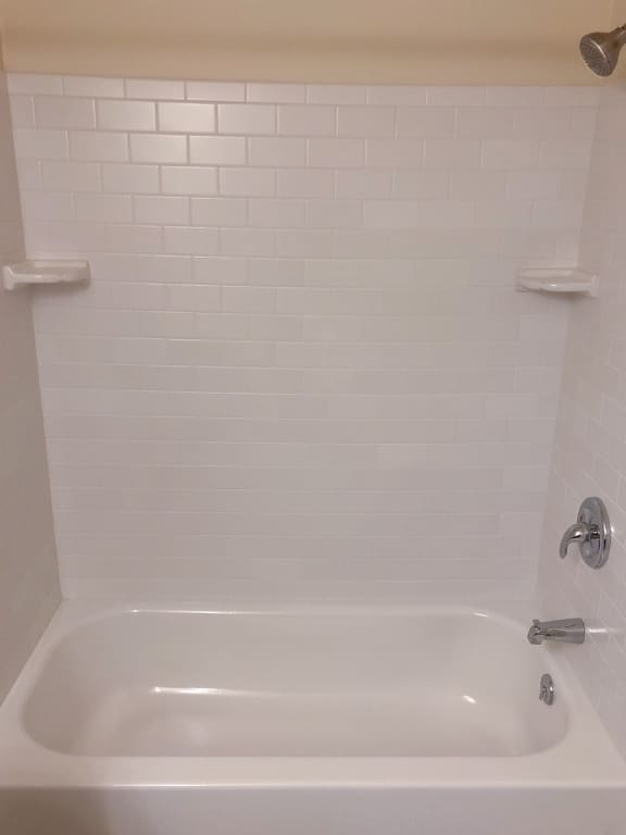 Updated tile bathrooms at Seminary Roundtop Apartments in Lutherville