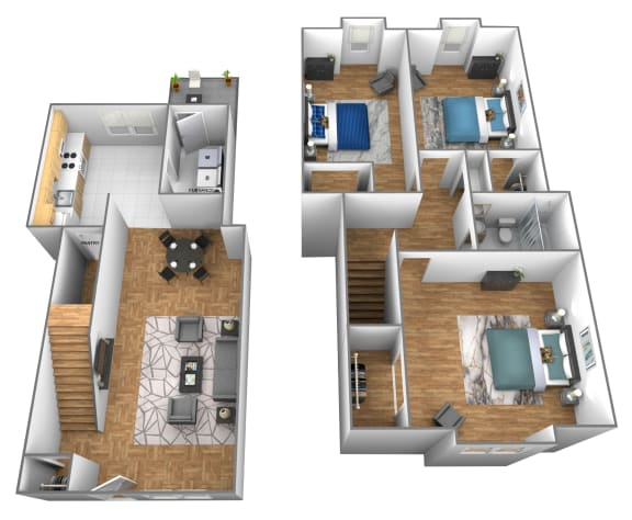 Floor Plan  3 bedroom 1 bathroom inside unit 3D floor plan at Somerset Woods Townhomes in