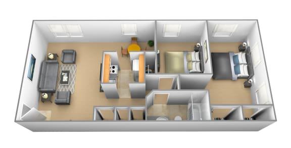 2 bedroom 1 bathroom Carlton at Arbuta Arms Apartments