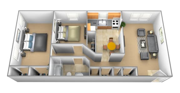 2 bedroom 1 bathroom Downing at Arbuta Arms Apartments