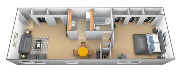 1 bedroom 1 bathroom apartment Lauren at Arbuta Arms Apartments
