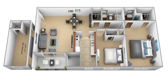 2 bedroom 2 bathroom 3D floor plan at The Village of Pine Run Apartments in Windsor Mill, MD