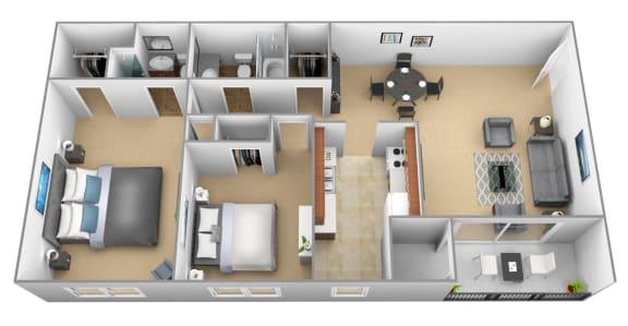 Floor Plan  2 bedroom 2 bathroom 3D floor plan at The Village of Pine Run Apartments in Windsor Mill, MD