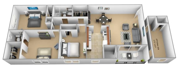 Floor Plan  3 bedroom 1.5 bathroom with den 3D floor plan at The Village of Pine Run Apartments in Windsor Mill, MD
