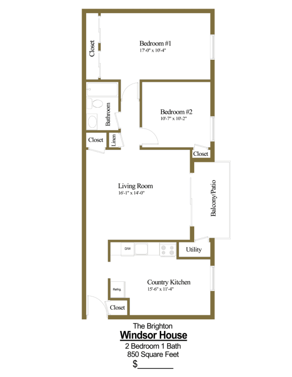 2 bedroom, 1 bathroom floor plan at Windsor House Apartments in Middle River, MD