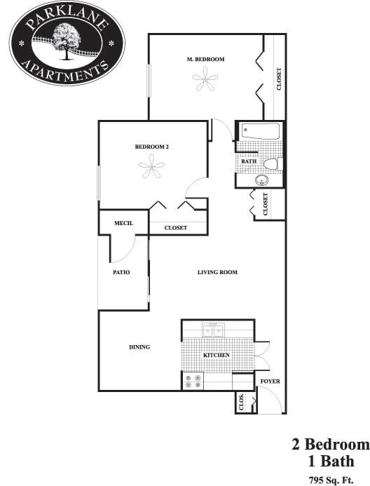 Floor Plan  b1 2 bedroom floor plan at Parklane Apartments