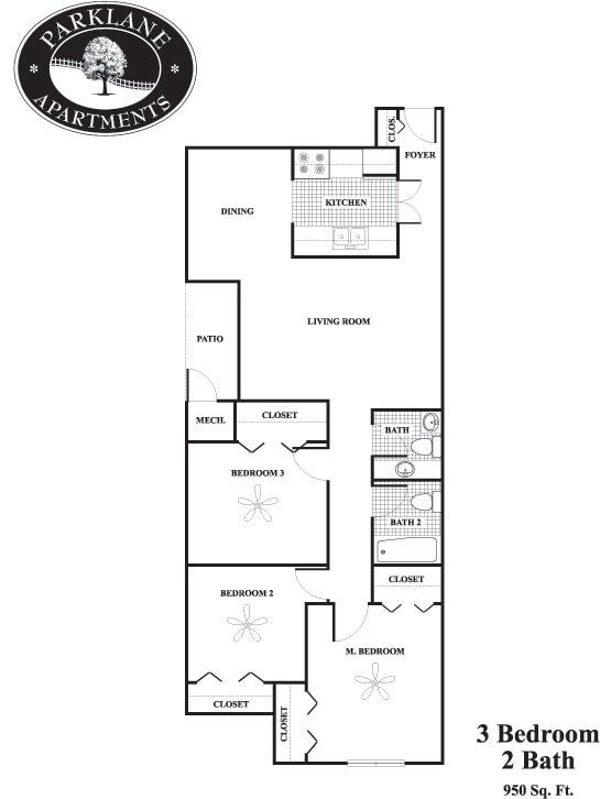 Floor Plan  C1 3 bedroom floor plan at Parklane Apartments