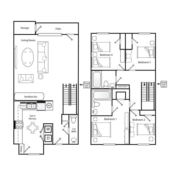Floor Plan  D1 4 bedroom 2.5 bathroom floorplan image 3 bedroom 2.5 bathroom floorplan image at Broadwater Townhomes in Chester, VA