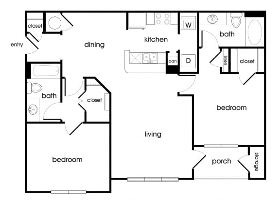 Floor Plan  B1 Floorplan at Lakeside Vista Apartments in Kennesaw, GA