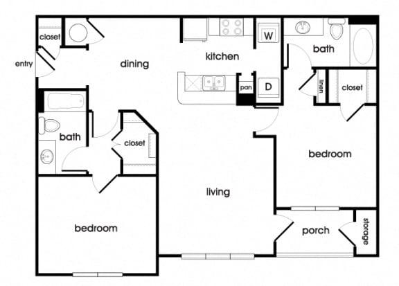 Floor Plan  B1 Floorplan at Longwood Vista Apartments in Doraville, GA