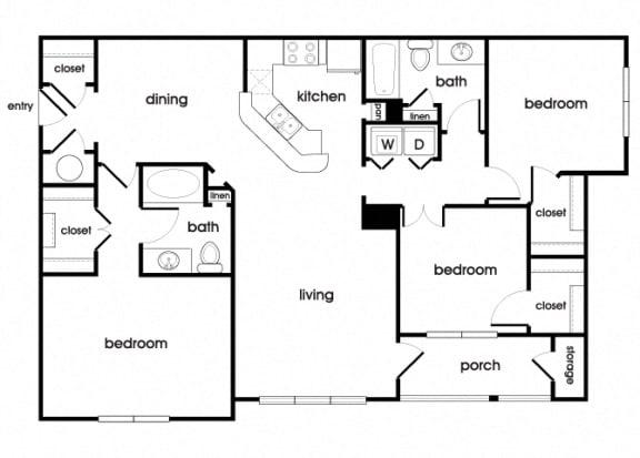 Floor Plan  C1 Floorplan at Longwood Vista Apartments in Doraville, GA