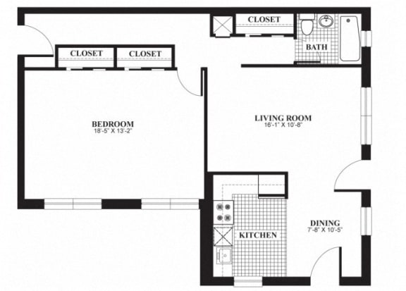 Floor Plan  One bedroom one bathroom A2 floorplan at The Barrington Apartments in Silver Spring, MD
