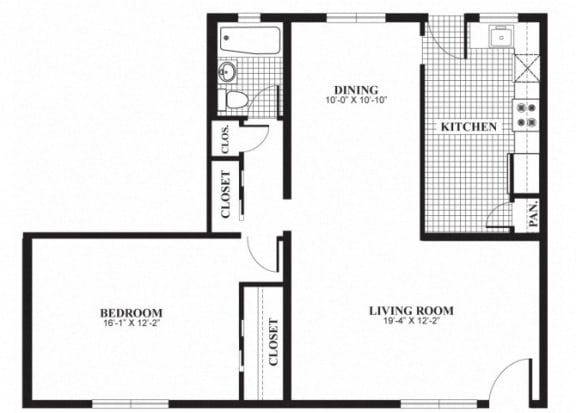 Floor Plan  One bedroom one bathroom A4 floorplan at The Barrington Apartments in Silver Spring, MD