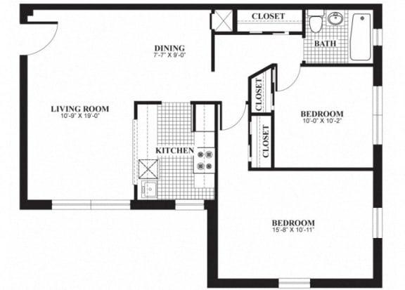 Floor Plan  Two bedroom one bathroom B2 floorplan at The Barrington Apartments in Silver Spring, MD